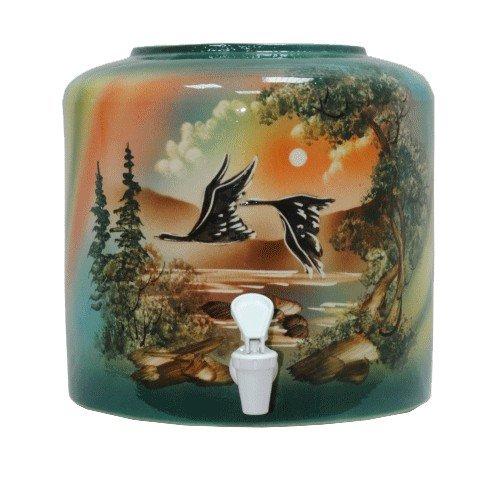 Керамический диспенсер для воды «Птицы» зеленый фото