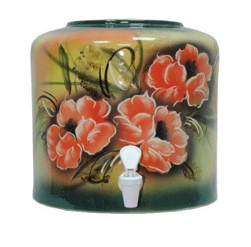 Керамический диспенсер для воды «Цветы» зеленый фото