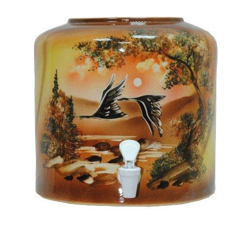 Керамический диспенсер для воды «Птицы» коричневый фото