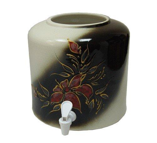 Керамический диспенсер для воды «Цветы» черно-белый фото