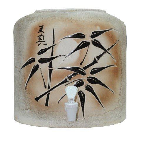 Керамический диспенсер для воды «Бамбук коричневый» шамот фото
