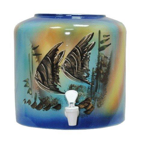 Керамический диспенсер для воды «Аквариум» синий фото