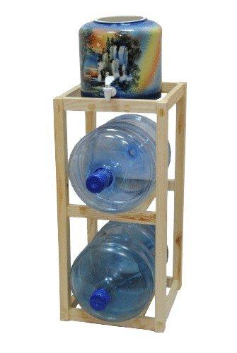 Подставка деревянная напольная под 2 бутыли фото