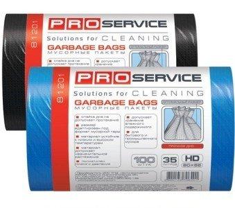 Пакеты для мусора PRO синие, 100 штук по 35 л фото