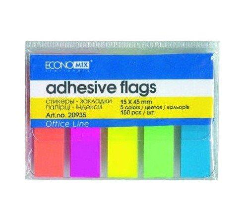 Закладки бумажные, 15 х 45 мм, 5 цветов по 30 шт. фото