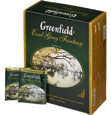 Черный чай Greenfield Earl Grey Fantasy с бергамотом, 100 пакетиков фото