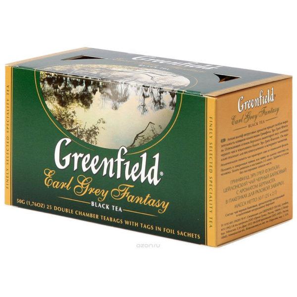 Черный чай Гринфилд Эрл Грей Фэнтази с бергамотом, 25 шт. фото