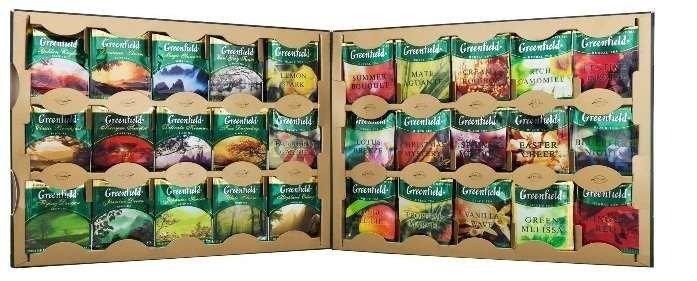 Чай Greenfield (Гринфилд) подарочный набор новогодний, 96 пакетиков, фото