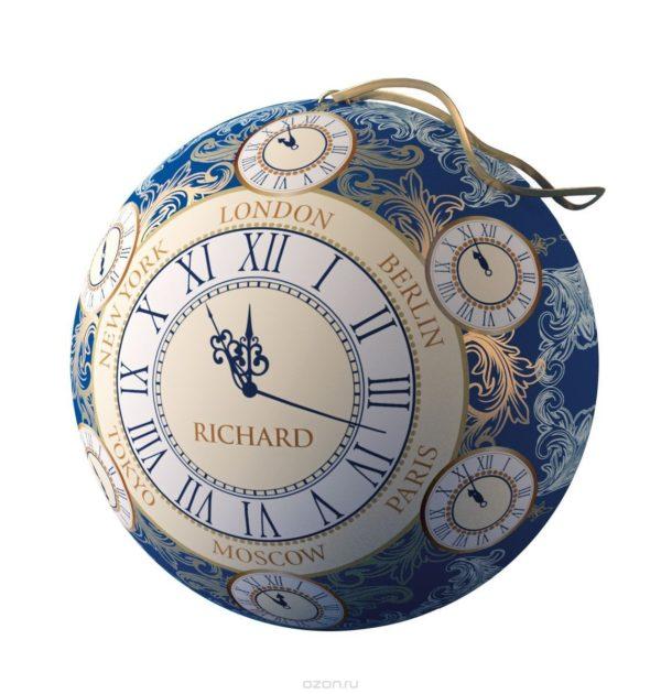 """Чай черный Richard Christmas Clock, 30 г в жестяной банке """"Новогодний шар"""""""