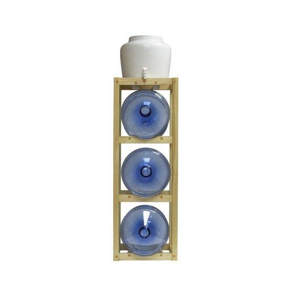 Подставка деревянная напольная под 3 бутыли и керамический диспенсер фото