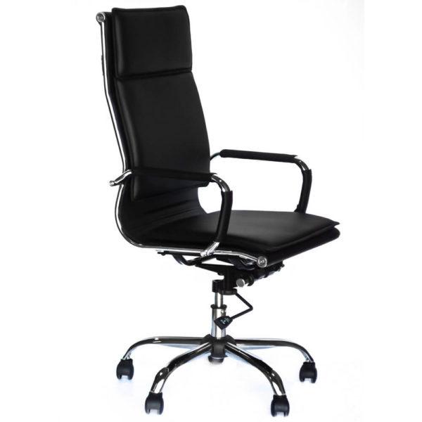 Черное офисное кресло для руководителя Классик, вид сбоку, фото