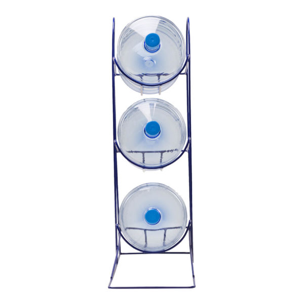 Подставка на 3 бутыли из металлического прута, синяя, вид спереди, фото