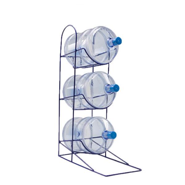Подставка-стойка металлическая на 3 бутыли, синяя, из прута, вид сбоку, фото
