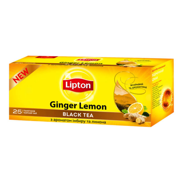 Чай черный Lipton Ginger Lemon, 25 пакетиков, фото