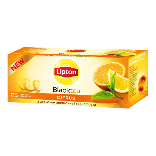 Черный чай Lipton BlackTea Citrus, 25 пакетиков, фото